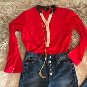 Raspberry olive green and cream blouse